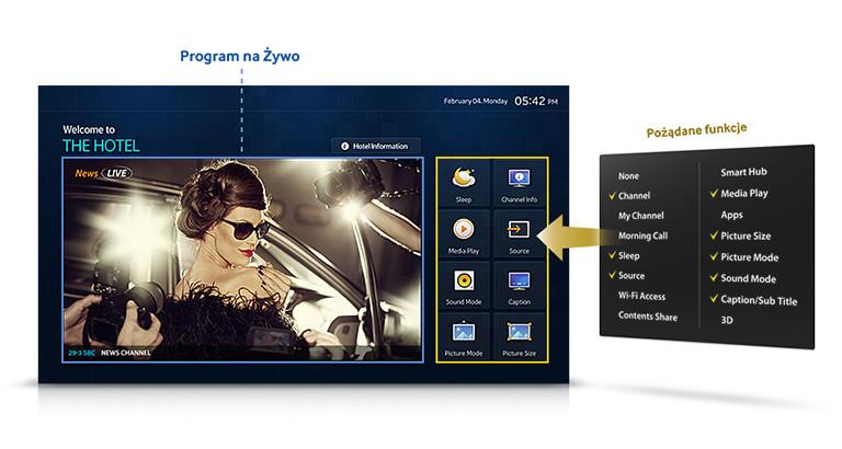 Ekran powitalny telewizora hotelowego Samsung HG24ED450